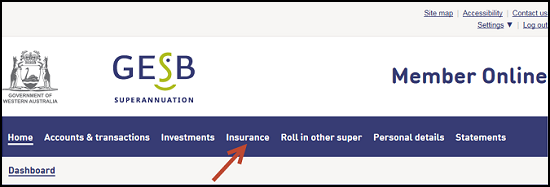 This image shows the location of the Insurance tab in the menu bar in Member Online, which is the fourth tab from the left.