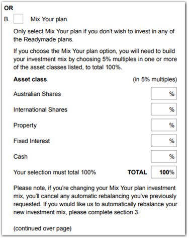 Investment choice choose your plan Mix Your plan options