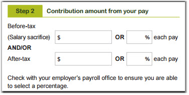 This image shows the 'Step 2 – Contribution amount from your pay' section of the Payroll deduction form. In this section, write the amount you would like to contribute from each pay. You need to enter the dollar amount or percentage of your pay that you would like to contribute in the top boxes for salary sacrifice contributions, or in the bottom boxes for after-tax contributions.