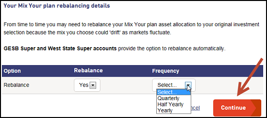 Screenshot showing the options you have for automatic rebalancing your Mix Your plan
