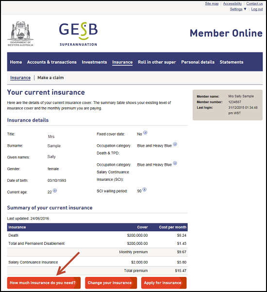 This image shows the Insurance section of Member Online, with the 'How much insurance do you need?' option highlighted. When you select this option, you will be redirected to the AIA website where you can calculate how much insurance you might need.