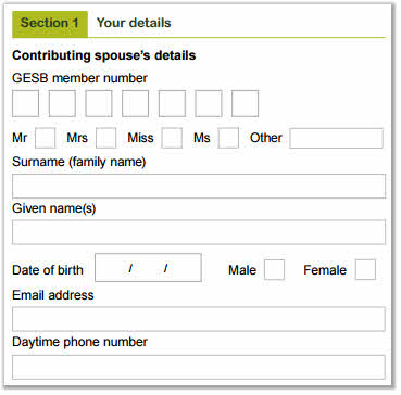 This image shows part of the 'Section 1 - Your details' section of the Spouse contributions form. In this section, you need to provide the contributing spouse's GESB member number and personal details, including title, surname, given name or names, date of birth, gender, email address and daytime phone number.