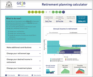 Screenshot of the last step within the retirement planning calculator. This includes a section on 'What to do now?' and a graph on showing your income pre-retirement and in retirement.