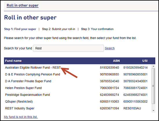Screenshot shows list of funds that comes up so you can select the relevant fund