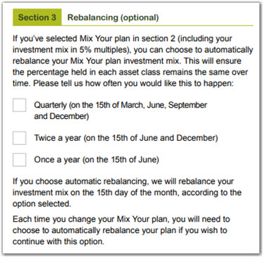 Investment choice rebalance option