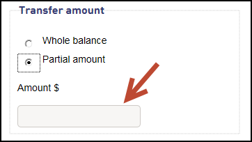 Screenshot showing you need to select either a whole balance transfer or a partial transfer