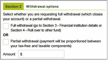 Withdrawal form - withdraw options