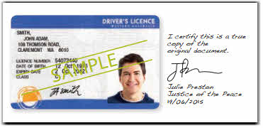 This image shows an example of a certified proof of identity document. The example uses a sample Australian driver's licence (including photograph) that has been certified by a Justice of the Peace.