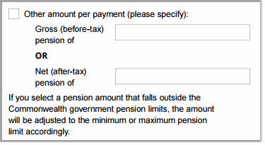 Payment variation form - new pension amount specific amount