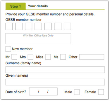 This image shows 'Step 2 - Your details' section of the Retirement Income Pension application form. In this section, you need to provide your GESB member number and personal details, including your title, surname, given name or names, date of birth, gender, address, email and telephone numbers.