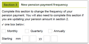 Payment variation form - payment frequency