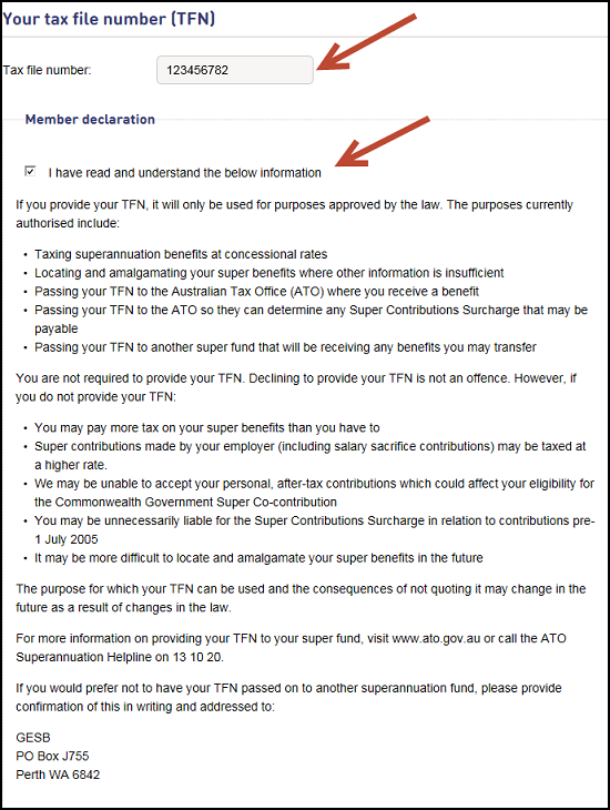 This image shows part of the 'Step 1: Update your details' page in Member Online, using a sample member's account named 'Sally Sample'. Here we have highlighted the 'Your tax file number (TFN)' and 'Member declaration' sections. Once you have read and understood the member declaration section, tick the box to confirm.
